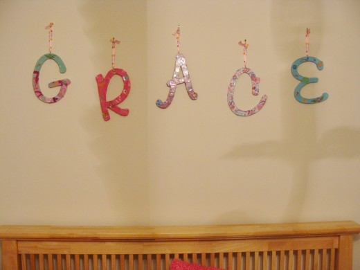 The letters for Grace's name not only personalize the room for her, but make a great focal point as you walk into the room.