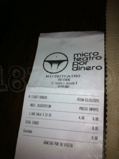 Here's a ticket. Looks like a regular supermarket receipt. Like I said: Low cost theater!