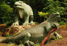 The famous Crystal Palace Iguanodons based on Mantell and Owens assumptions.