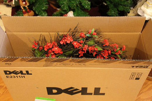 Computer and TV screen boxes are perfect for Holiday Wreath Storage
