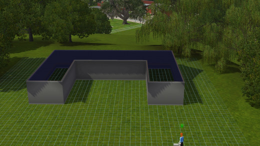 Laying out the floor plan of your sims 3 greenhouse.