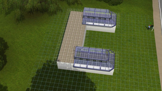 Placing the greenhouse roof pieces!