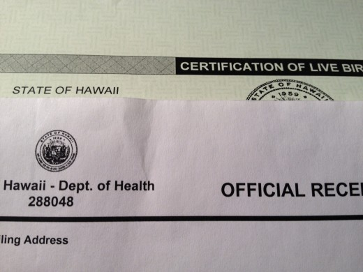 You will receive the birth certificate copy in a light green color, and an official receipt both will have the Hawaii state seal.