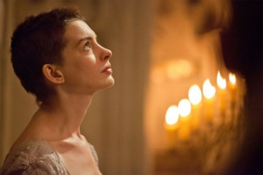 "Anne Hathaway stars as the forlorn Fantine in the new screen adaptation of ""Les Miserables"", in theaters now."