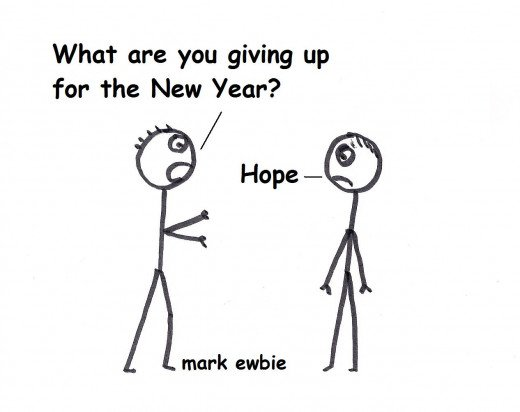 Giving up hope for the New Year - stickman cartoon