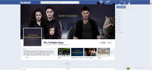 The Facebook Page of popular movie franchise, The Twilight Saga.