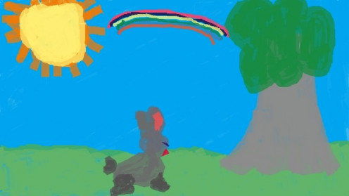 A child's drawing of a rabbit, a tree, and a rainbow.