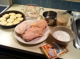 The ingredients for chicken and rice including sides of biscuits and gravy. Credit: Chase Snoke