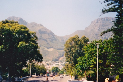 Table Mountain Towers Over the Street