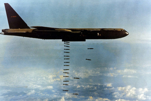 "B-52 Dropping its Load (Called ""Arc Light"" Mission)"