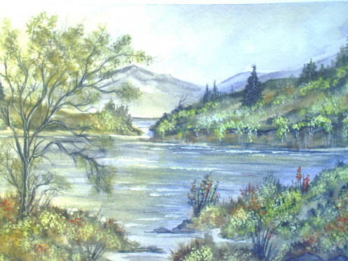 Brenda Cumming.  Gweddus Art.  Original watercolour landscape