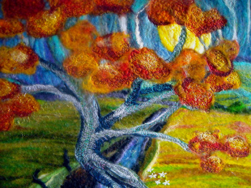 Crack Willow.  SueForeyfibreart Felt and stitching