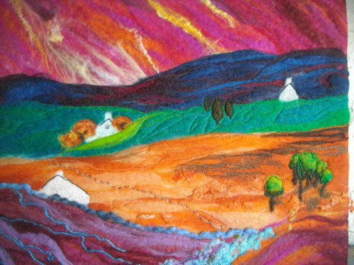 Pink Sky.  SueForeyfibreart Felt and stitching