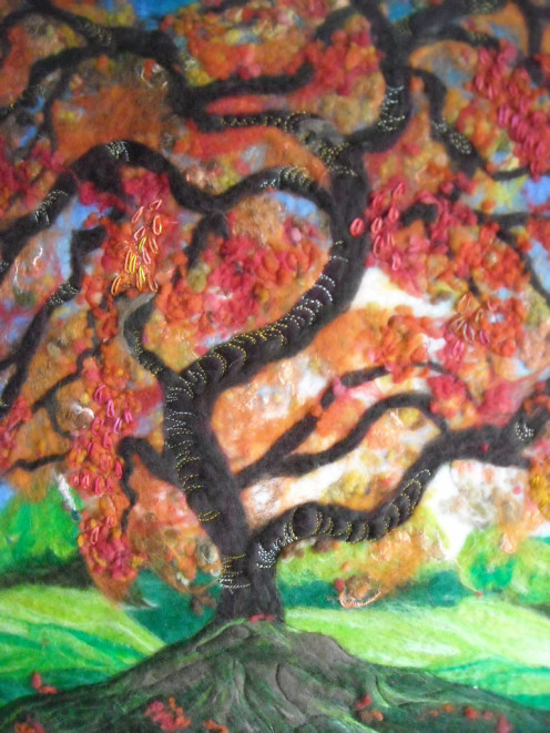 Red Tree  SueForeyfibreart Felt and stitching