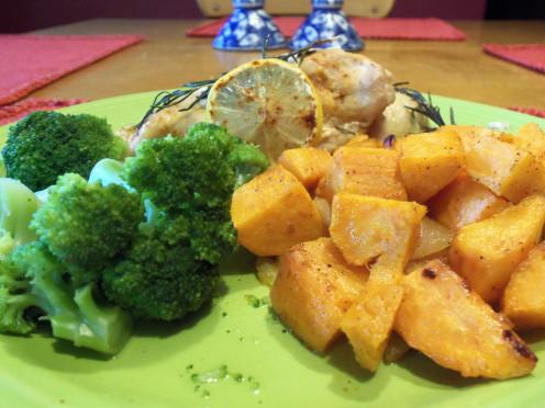 Rosemary lemon chicken, sweet potato fries and broccoli