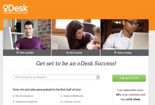 oDesk Homepage Screen