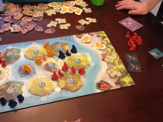 A game of Catan Junior in progress