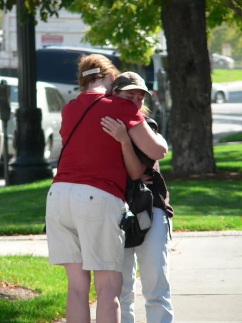 Hugging the homeless Mama as we prayed