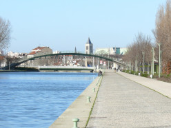 Saint-Denis Canal at Saint-Denis, with the Basilica in the background
