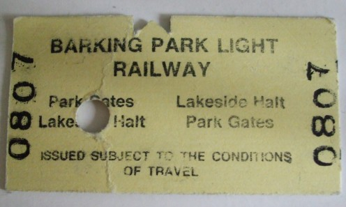 "Barking Park Light Railway (7.25"" gauge) return ticket."