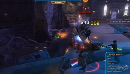 SWTOR Siege Mentality - using cauterize and then zealous strikes to defeat the killik praetor