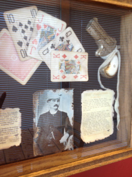 Browse the resturant to view the relics and memorabilia of long ago.  Read Bat Masterson's background and view his playing cards on display.
