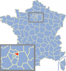 Map location of Seine-Saint-Denis department, France