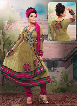 Pretty Beige Net Anarkali Suit. Photo courtesy of Cbazaar.