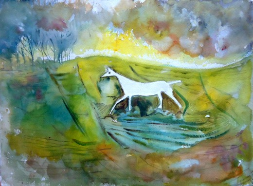 Cherhill White horse on the Marlborough Downs. The poet Charles Sorley  loved to run along the Downs in the rain