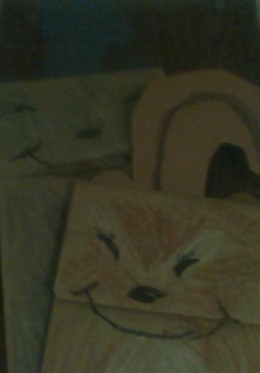 Chipmunk and grey squirrel paper bag puppets made by Esperanza