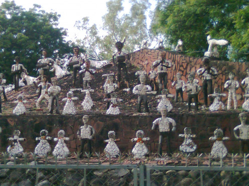 Sculptures at Rock Garden made up of scrap