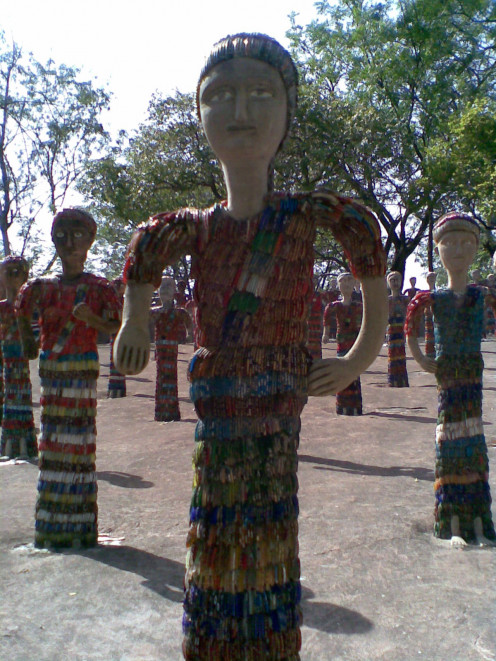 Sculpture made up of broken bangles at Rock Garden