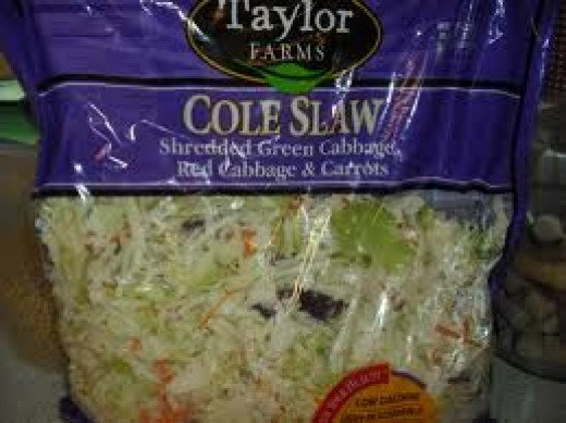 Shredded Cabbage Coleslaw Mix usually offers a variety of green and purple cabbage and sometimes shredded brocolli and carrots.