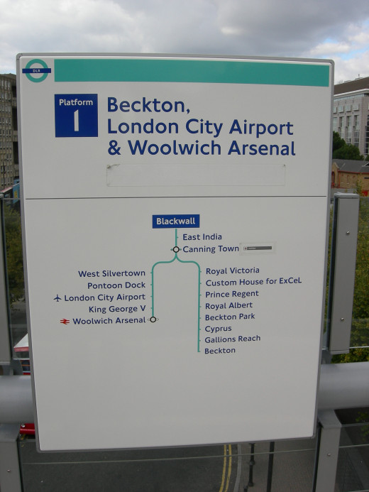 Dockland Light Railway Route Sign - Notice the similar branding the DLR has to the Subway
