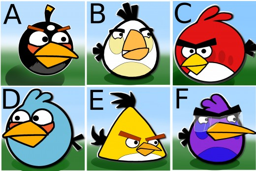 Spot the odd couple of Angry Birds.