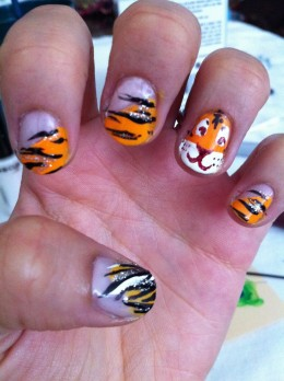 For this one I did the taping method described above to put down the orange and even added a tiger face.