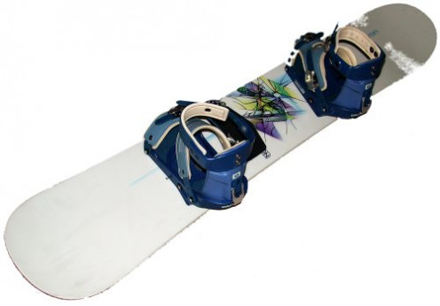 A snowboard with strap-in bindings