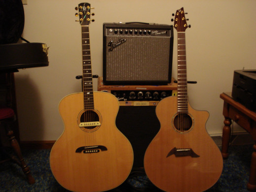 """Loves Dem Jumbos""  ~ Alvarez-Yairi JY-84 Jumbo (Left)                                          Breedlove Cascade J-25Cre Jumbo(Right)"