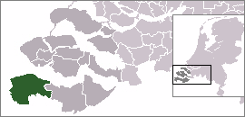 Map location of Sluis municipality, Zeeland, The Netherlands