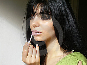 taking care of dry lips with  lip balm
