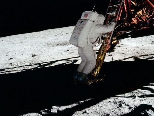 Buzz Aldrin about to set foot on the moon