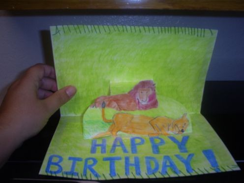 A birthday card I made for a friend using colored pencils.