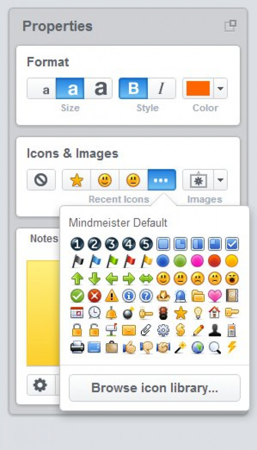 On the right you'll have your tool dock, which allows you to do a lot of things. There are a large number of icons that you can add to your ideas available in Mind Meister, along with images and the ability to search the Internet for more images.