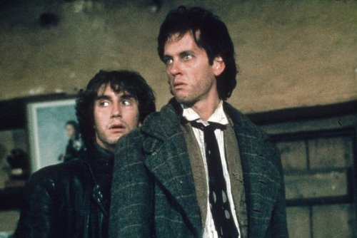 "Paul McGann as ""I"" (left) and Richard E. Grant as Withnail (right)."