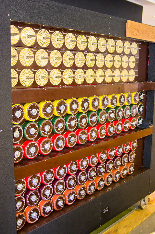 Shows the incredible complexity of the Bombe used to break the Enigma Codes