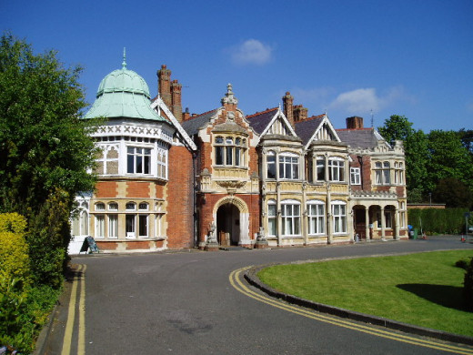 View of Bletchley House, historic building where hundreds worked to break the Enigma Codes during WW2