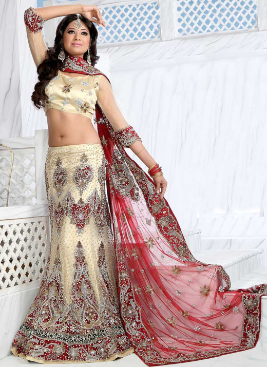Cream Fish Cut Net lehenga Choli. Photo courtesy of Cbazaar.com.