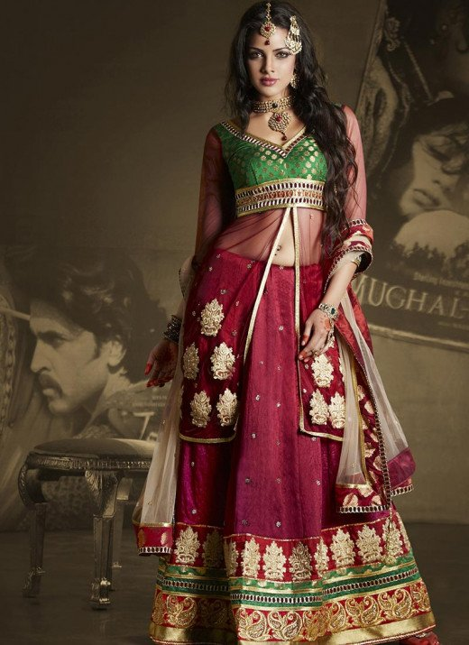 Mesmerizing Burgundy Long Choli Lehenga. Photo courtesy of Cbazaar.com.