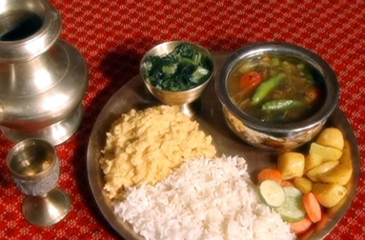 The traditional Nepali dish rice with gundruk soup