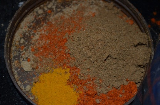 take chilli powder, corainder powder , garam masala , 1 teaspoon each, along with two pinch of turmeric powder.